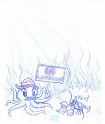 Octopus Park Ranger scolding a Littering Lobster by toonishdreams