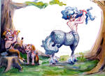 Centaur and two fauns