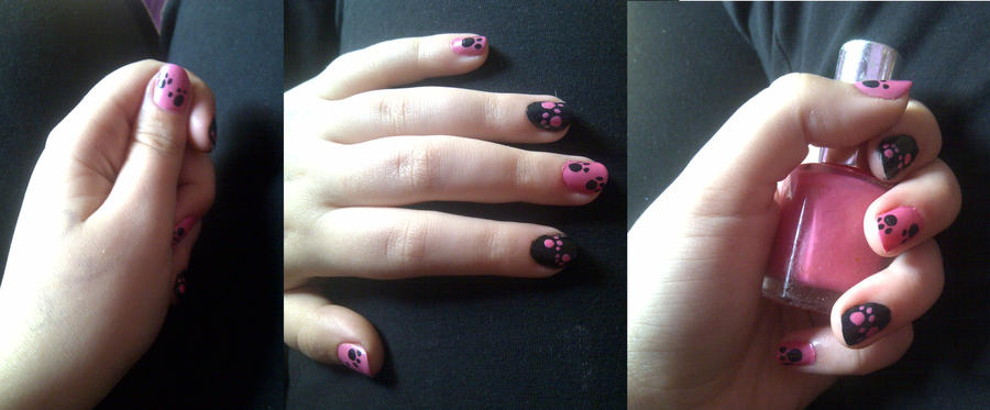 Pink Panther Paw Print Nail Art by icerose05 on DeviantArt