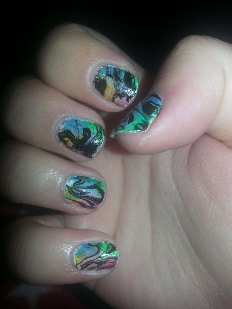 Cool Water Marble Nail Designs