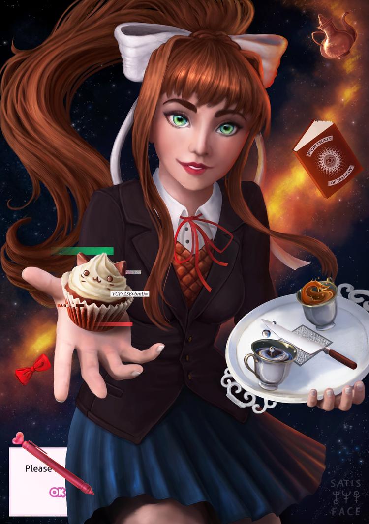 Monika   Doki Doki Literature Club by satisface