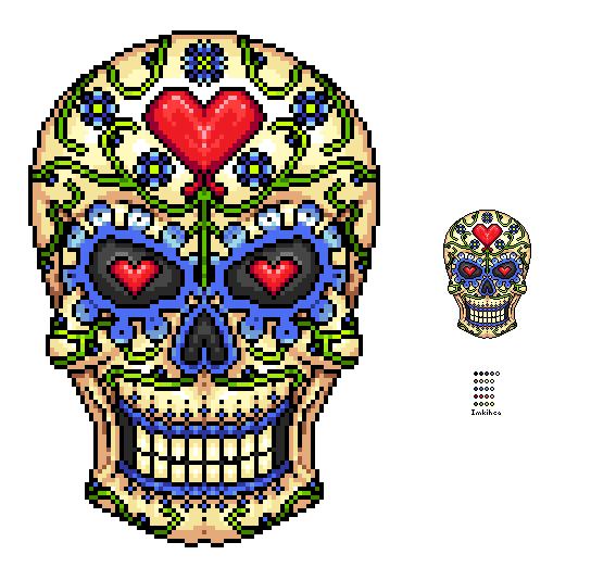 Pixel Sugar Skull by Imkihca on DeviantArt