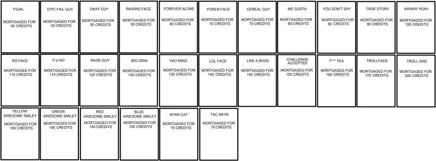 Die Bilder -> Monopoly Karten Vorlage