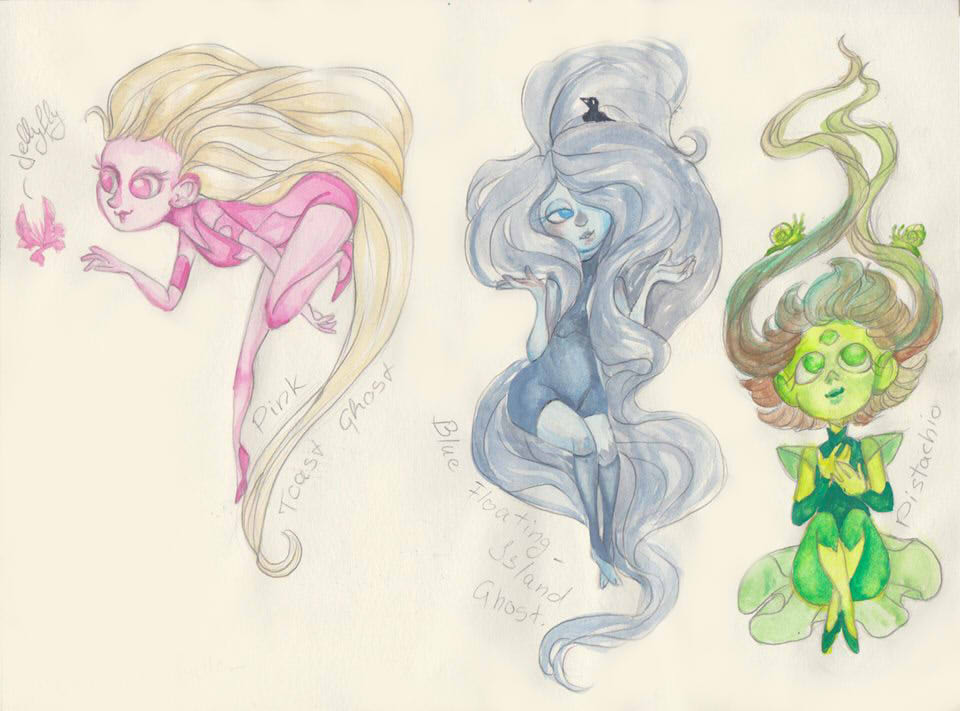 Pink Toast Ghost and her Ghost Friends by Bloodysfish
