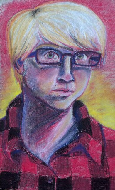 Self portrait in chalk by vynn-beverly