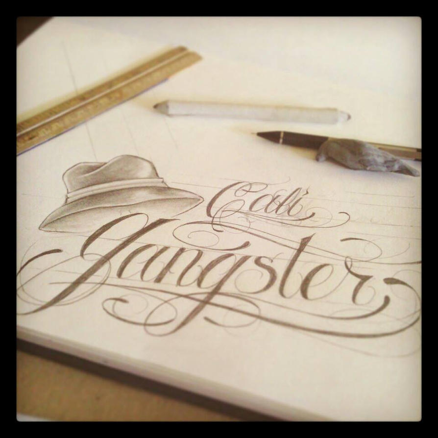 Gangster writing tattoos