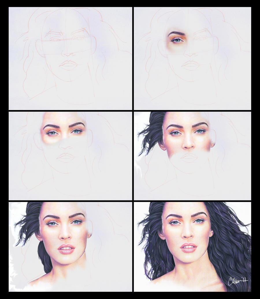 Megan Fox-Drawing Process by Live4ArtInLA