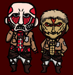 Chibi Colossal and Armoured Titan