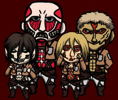 Colossal, Armored, Female and Eren Titan