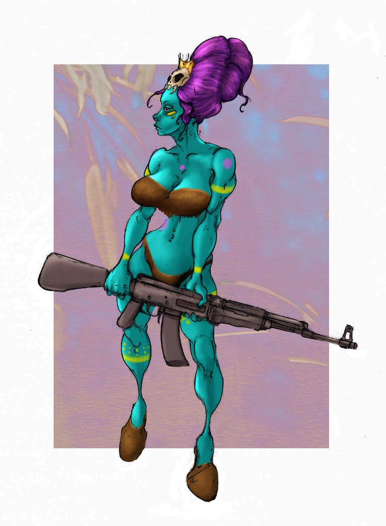 Jungle Princess With A Gun by Selkirk (COLORS) by carol-colors