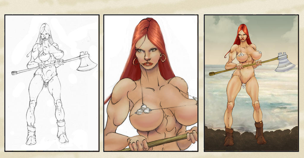Red Sonja Battle Ready by Selkirk (COLORS) by carol-colors