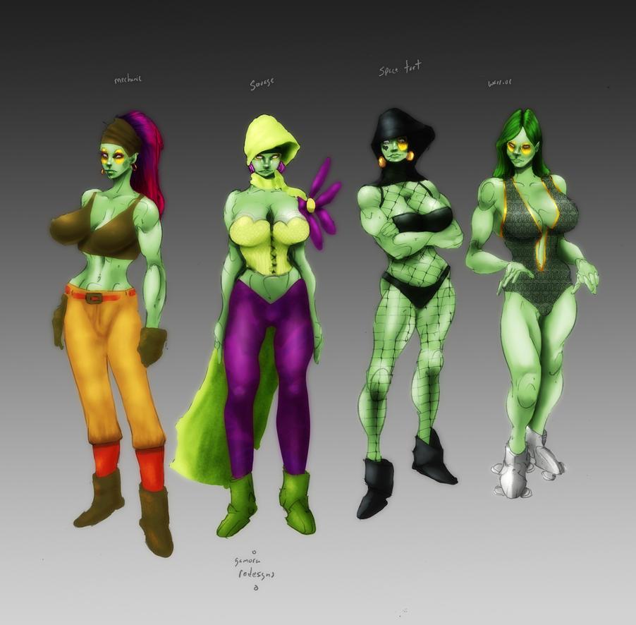 Gamora redesigns by Selkirk (COLORS) by carol-colors