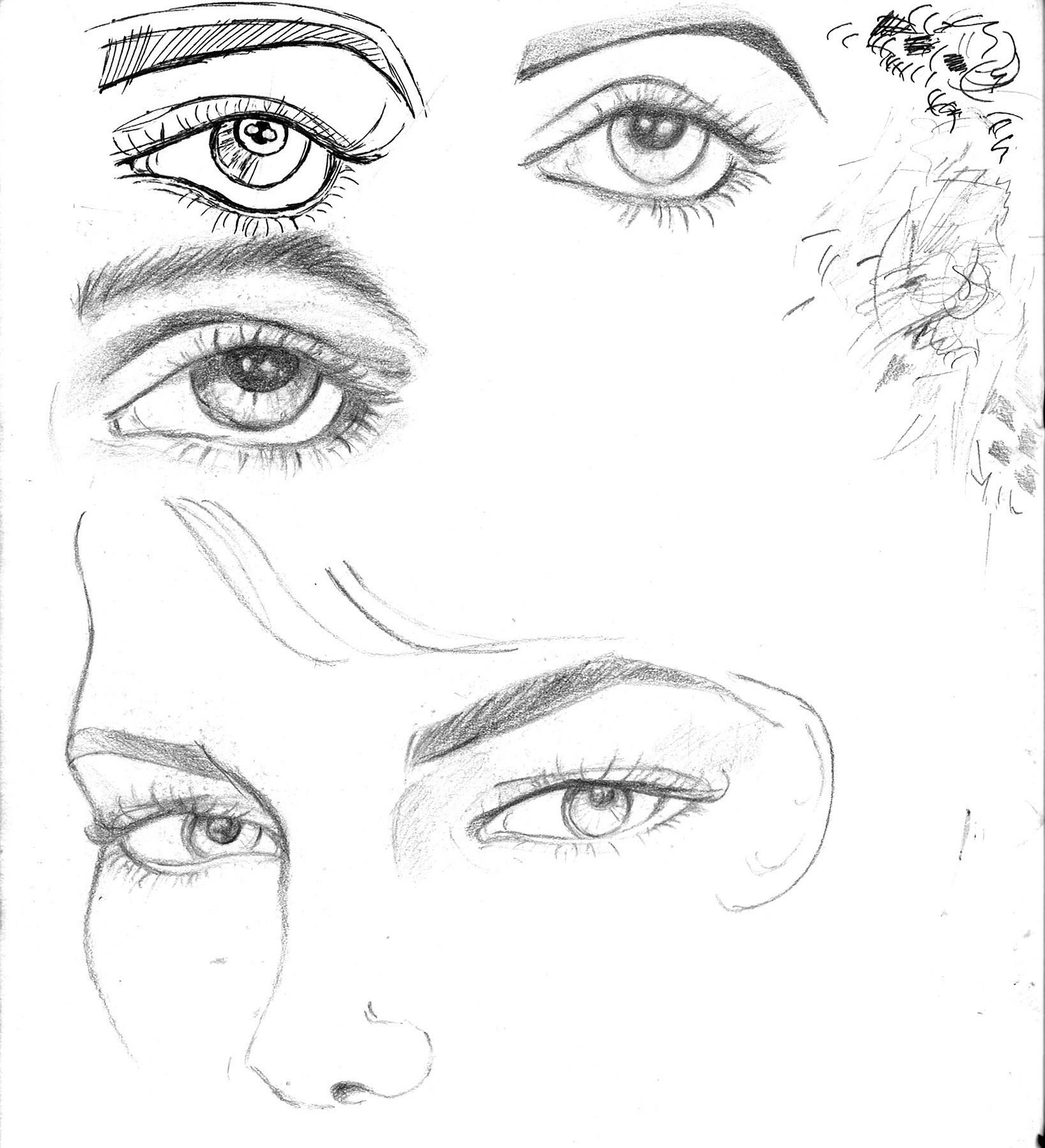 how to draw sad eyes