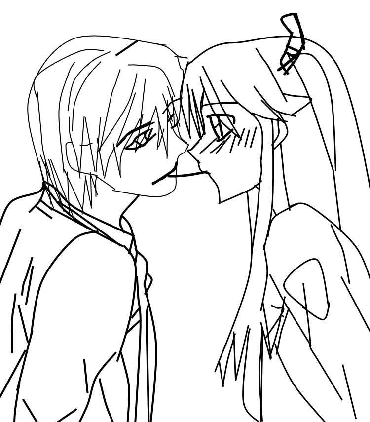 cute anime couples coloring pages - anime couple drawing tumblr coloring pages