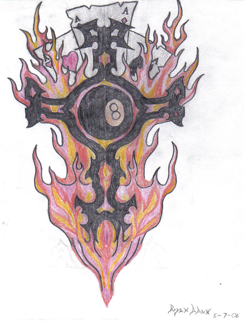 8 ball fire cards tattoo by vash1701 on deviantart. Black Bedroom Furniture Sets. Home Design Ideas