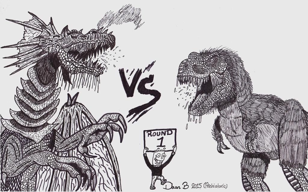 Dragon vs T-rex by XenoTeeth3