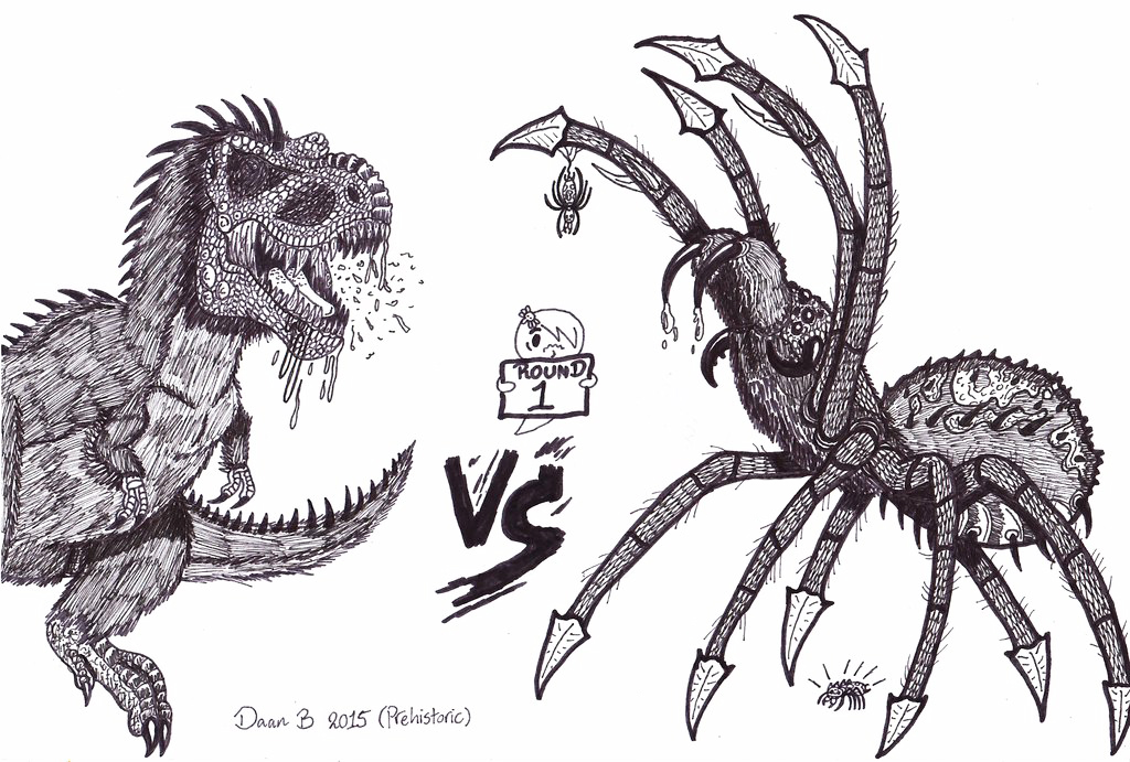 T-rex vs Giant spider by XenoTeeth3