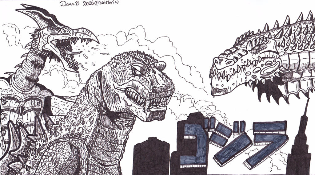 G.R.Z: Godzilla, Rodan and Zilla by XenoTeeth3