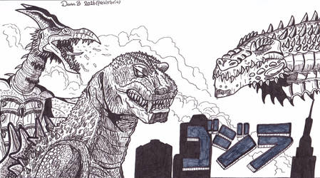 G.R.Z: Godzilla, Rodan and Zilla by XenoTeeth3
