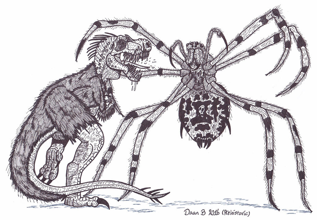 T-rex vs Giant spider (ROUND 2) by XenoTeeth3