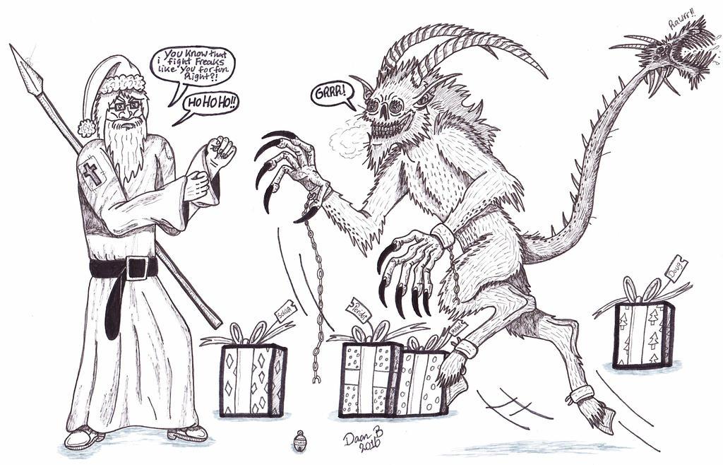 Santa Christ vs Krampus by XenoTeeth3