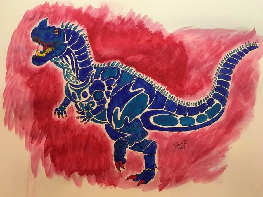 Tribal Ceratosaurus painting by XenoTeeth3