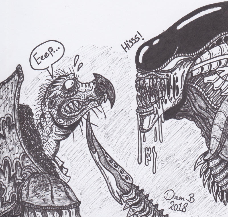 Skeksis vs Alien by XenoTeeth3