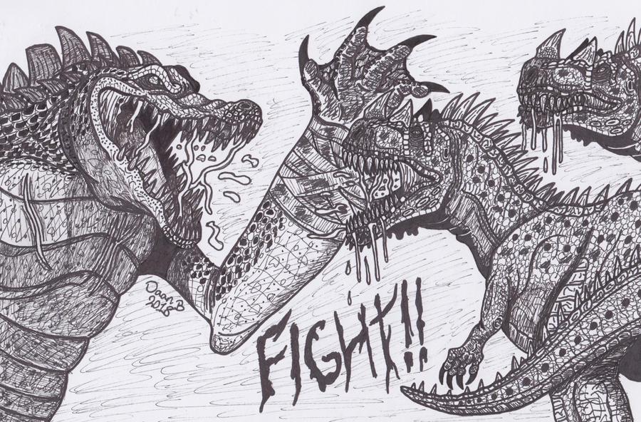 Leatherhead vs Ceratosaurs by XenoTeeth3