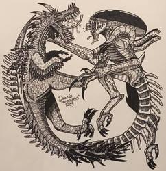 Spiketooth vs Xenomorph by XenoTeeth3