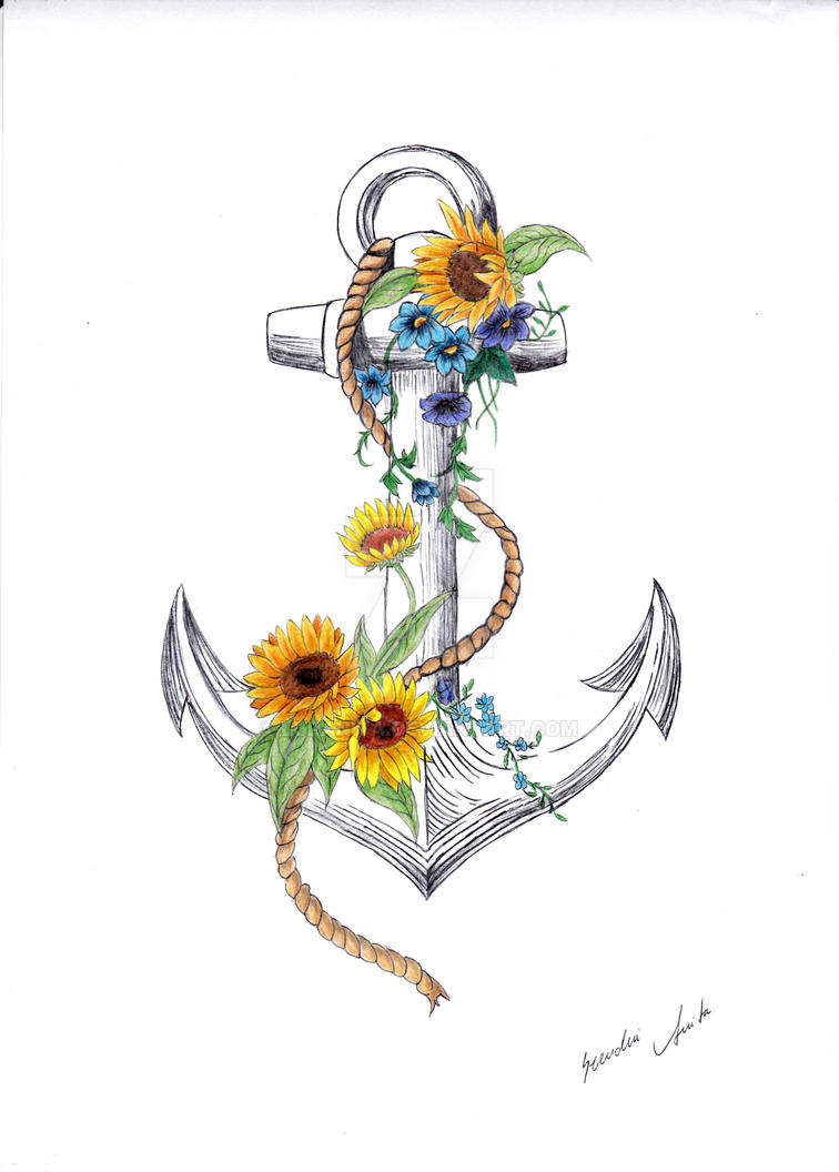 Anchor and sunflower by lupanita on deviantart for Sunflower temporary tattoo
