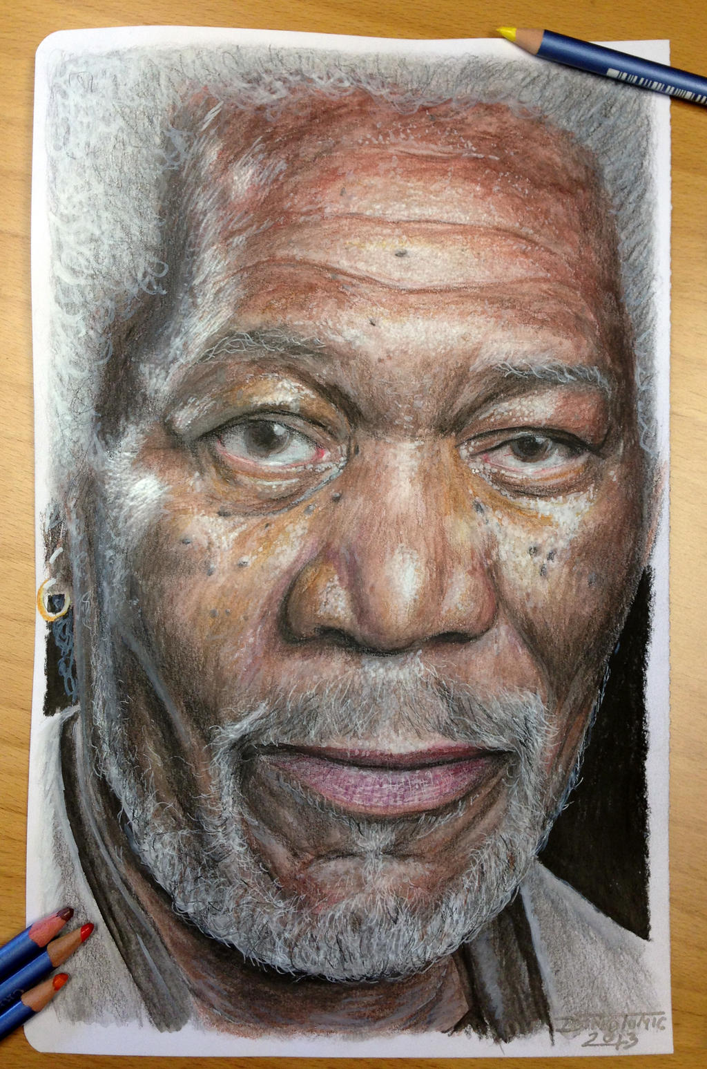Morgan Freeman color pencil drawing by AtomiccircuS