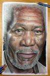 Morgan Freeman color pencil drawing