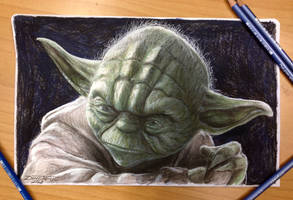 Yoda Color Pencil Drawing by AtomiccircuS