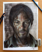 Daryl Dixon Color Pencil Drawing by AtomiccircuS