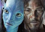 Daryl Dixon and Neytiri color pencil drawing
