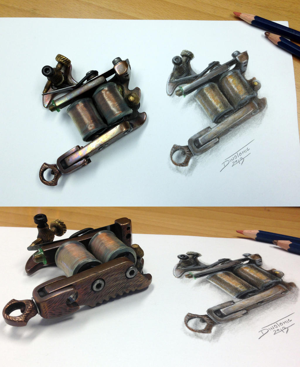Tattoo Machine Color Pencil Drawing By AtomiccircuS