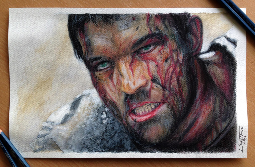 Spartacus color pencil drawing by atomiccircus