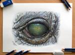 Crocodile Eye Color Pencil Drawing