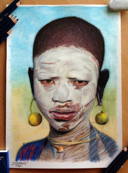 African Child Color Pencil Drawing