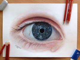 Eye Maze Color pencil drawing
