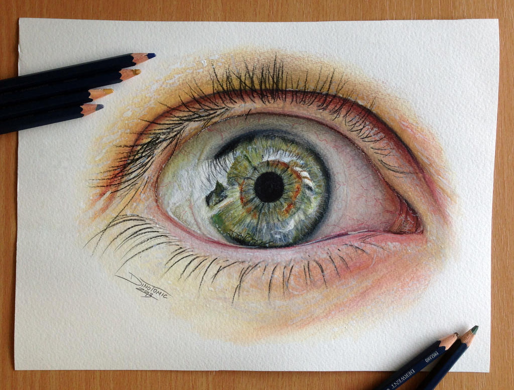 How to draw with colored pencils - Eye Color Pencil Drawing By Atomiccircus