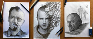 My Breaking Bad pencil portraits by AtomiccircuS