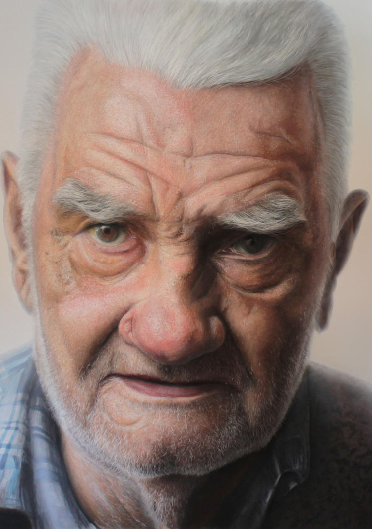 Detail pic /Mixed media portrait of my Grandfather by ...