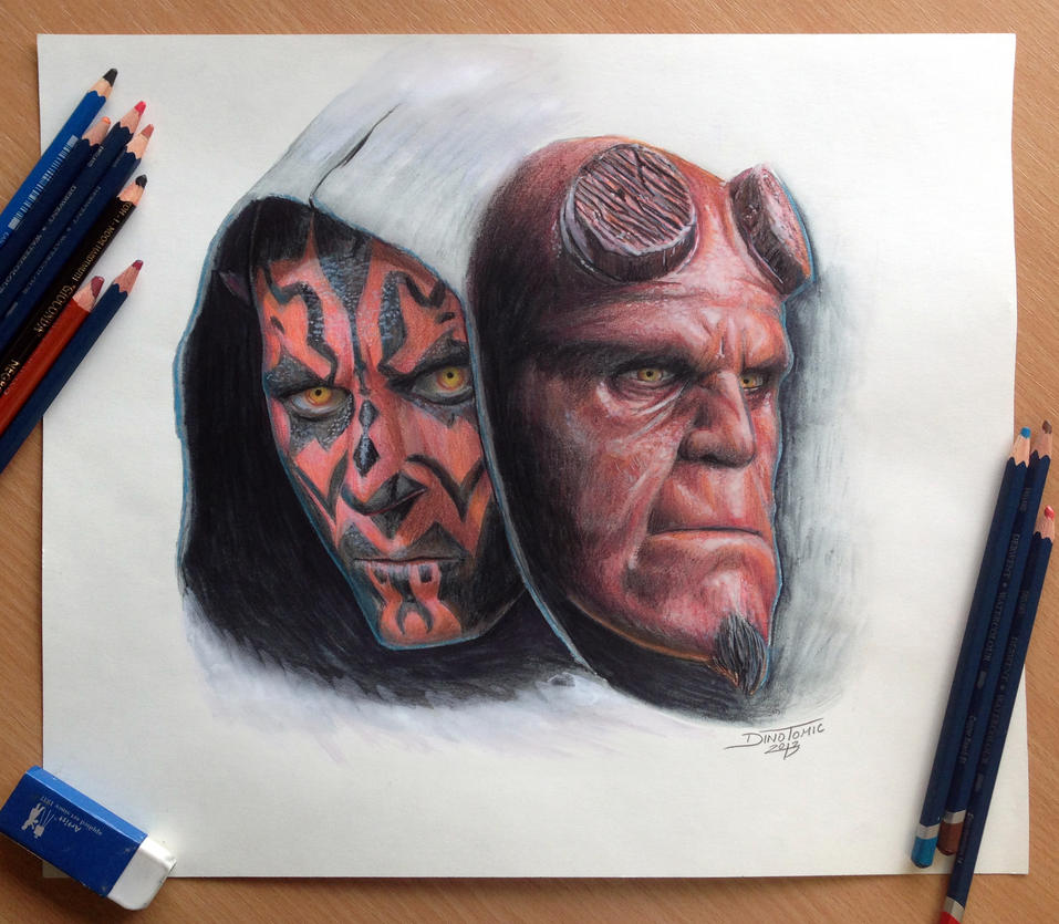 Darth Maul and Hellboy color pencil drawing by AtomiccircuS