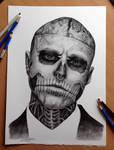 My pencil drawing of Rick Genest aka Zombie boy