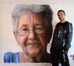 Mixed media portrait of my Grandmother