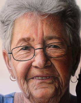 Mixed media portrait of my Grandmother ( detail )