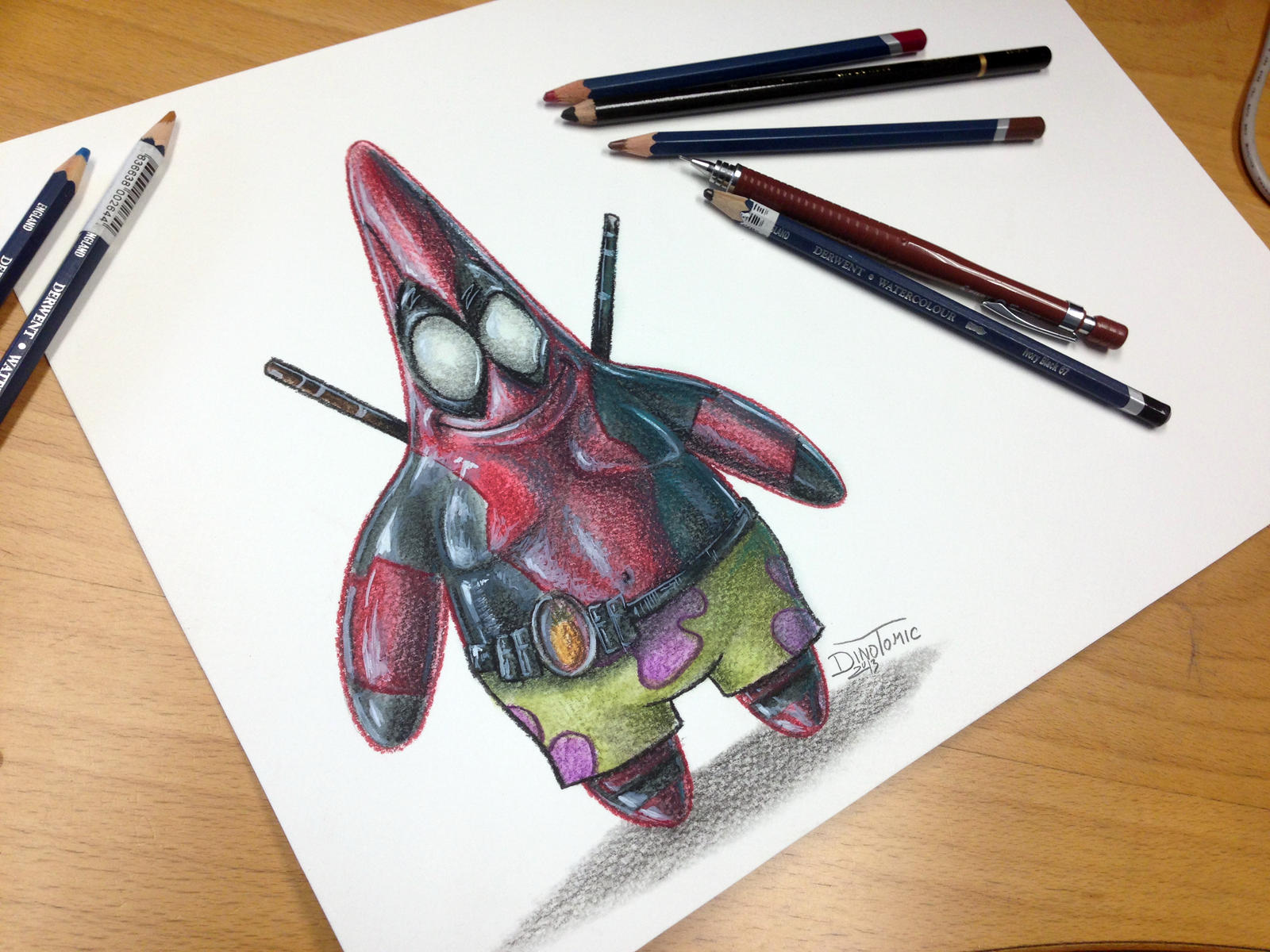 Pencil drawing of Patrick as Deadpool by AtomiccircuS