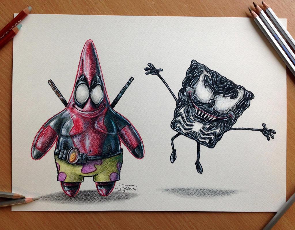 Pencil Drawing of Deadpool Patrick/Venom Spongebob