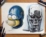 Homer as Captain America and T-800